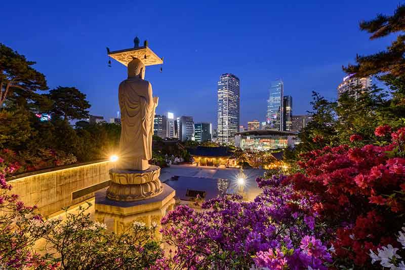 this photo shows why one of the things to do in seoul at night is visiting Bongeunsa Temple
